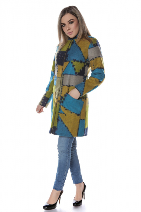 Palton dama din stofa verde multicolor PF47 1