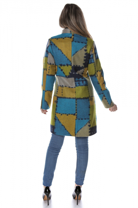 Palton dama din stofa verde multicolor PF47 2