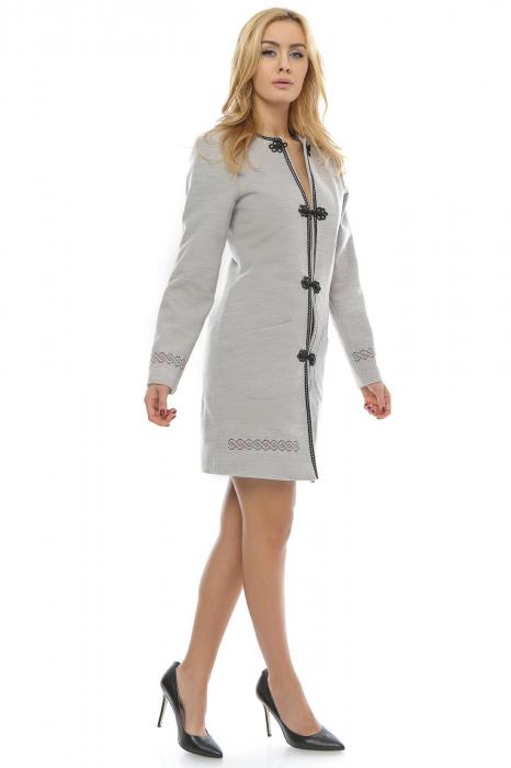Palton dama gri cu broderie PF21 1