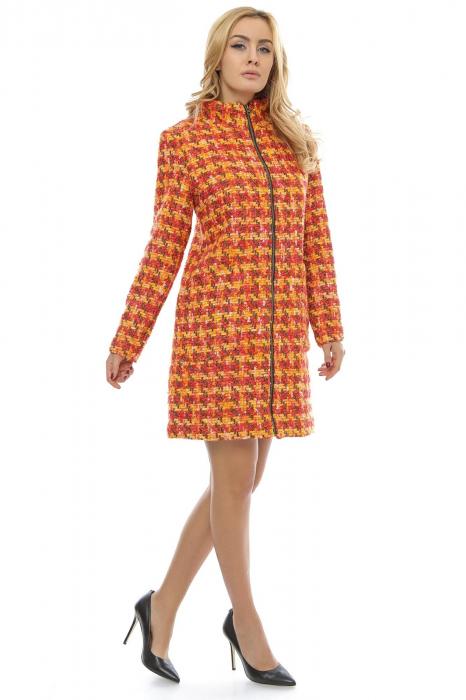 Palton dama multicolor din stofa cu fermoar metalic PF20 1