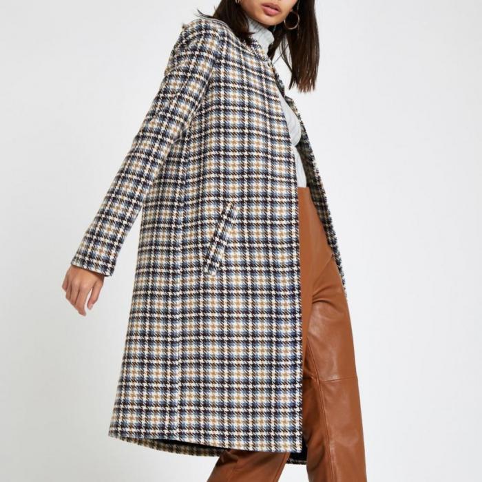 Palton dama cu buzunare in carouri 1