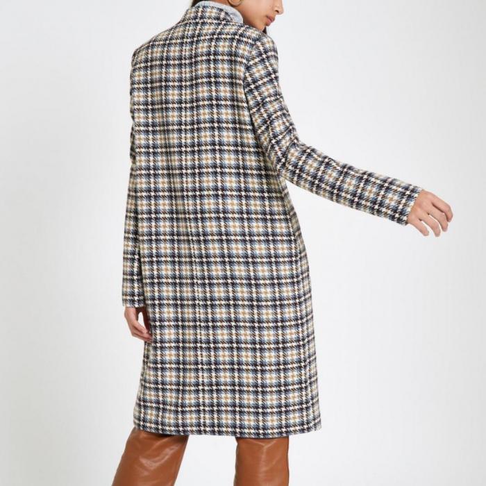 Palton dama cu buzunare in carouri 4