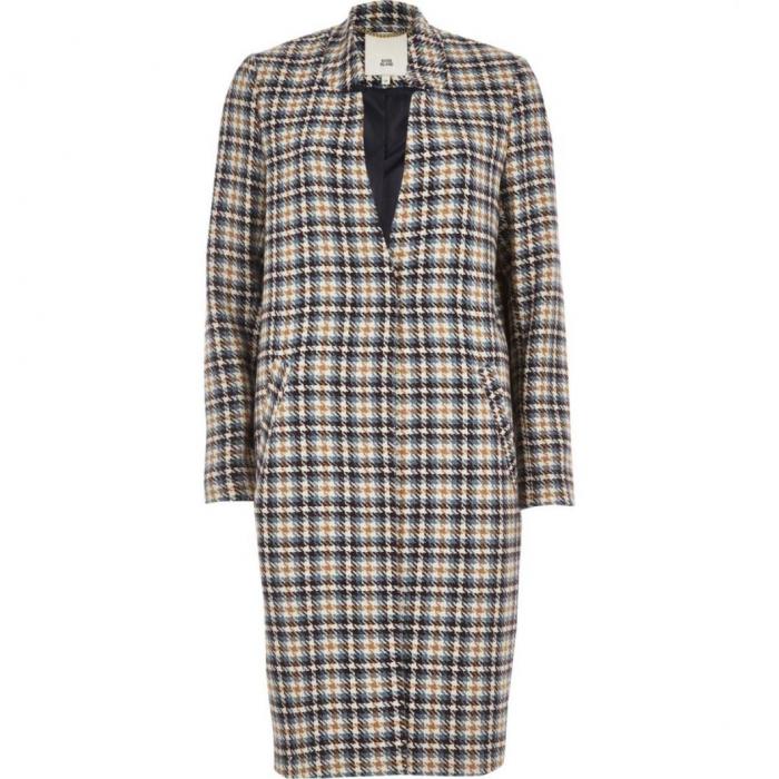 Palton dama cu buzunare in carouri 2