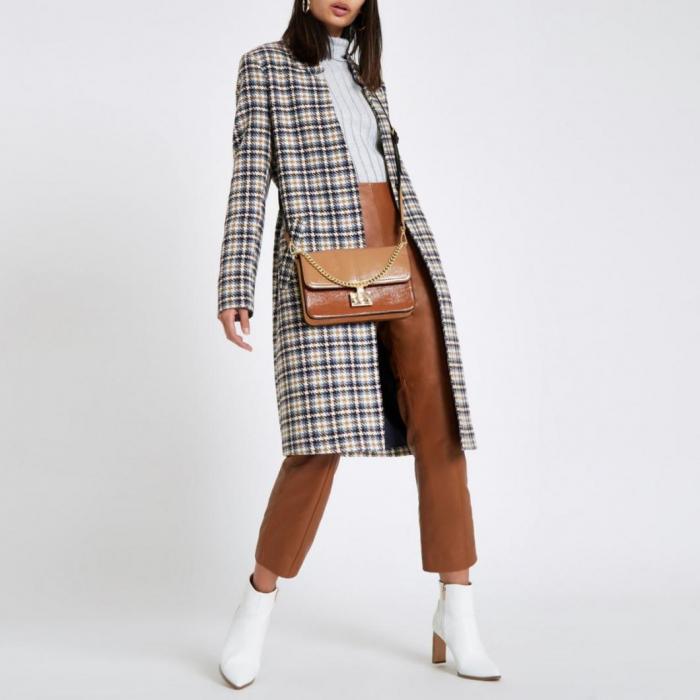 Palton dama cu buzunare in carouri 0