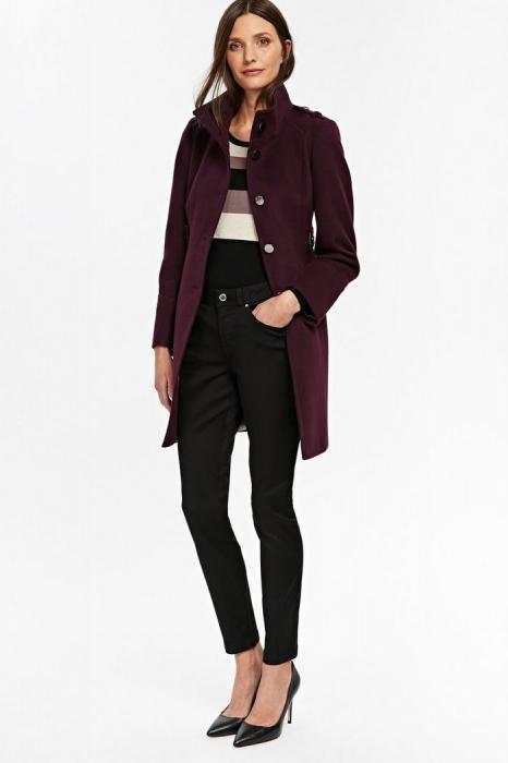Palton elegant din stofa mov cu buzunare si nasturi metalici 0