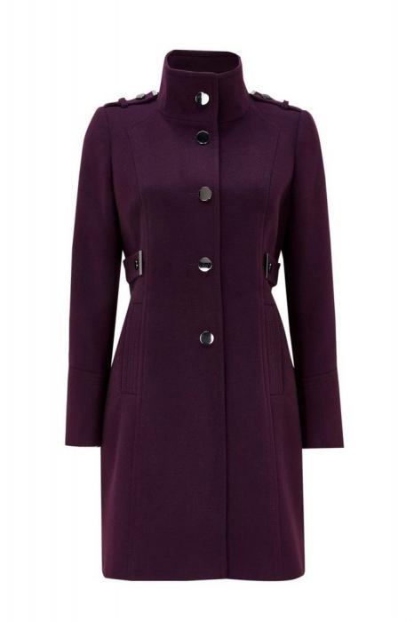 Palton elegant din stofa mov cu buzunare si nasturi metalici 2