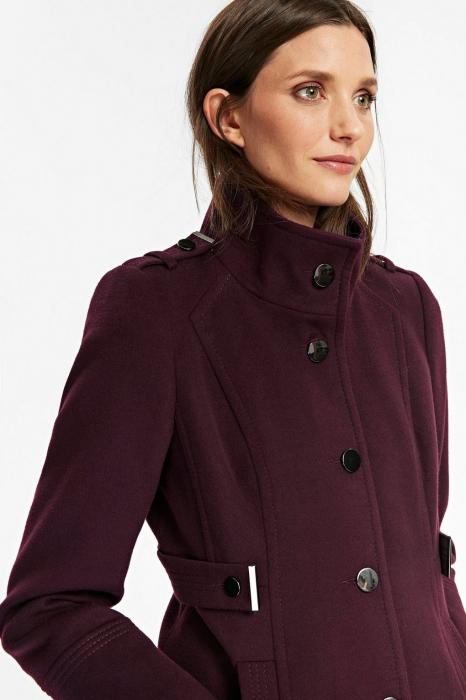 Palton elegant din stofa mov cu buzunare si nasturi metalici 3