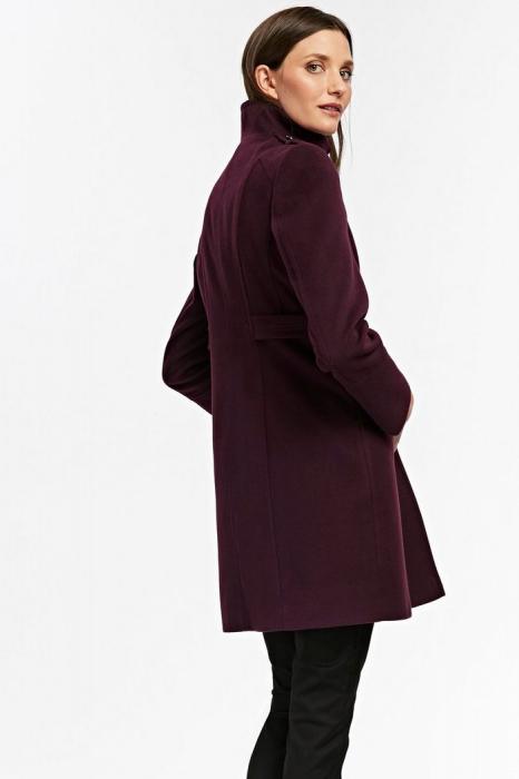 Palton elegant din stofa mov cu buzunare si nasturi metalici 1