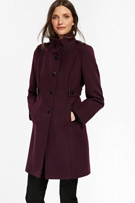 Palton elegant din stofa mov cu buzunare si nasturi metalici 4