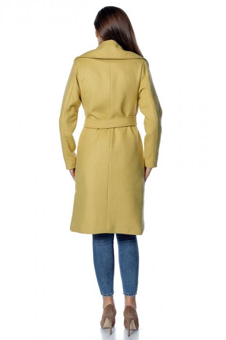 Palton galben dama din stofa cu broderie PF34 2