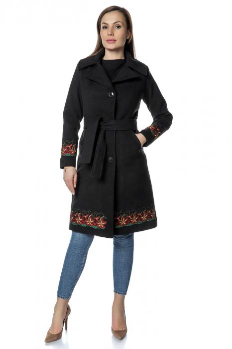 Palton negru dama din stofa cu broderie florala PF35 0