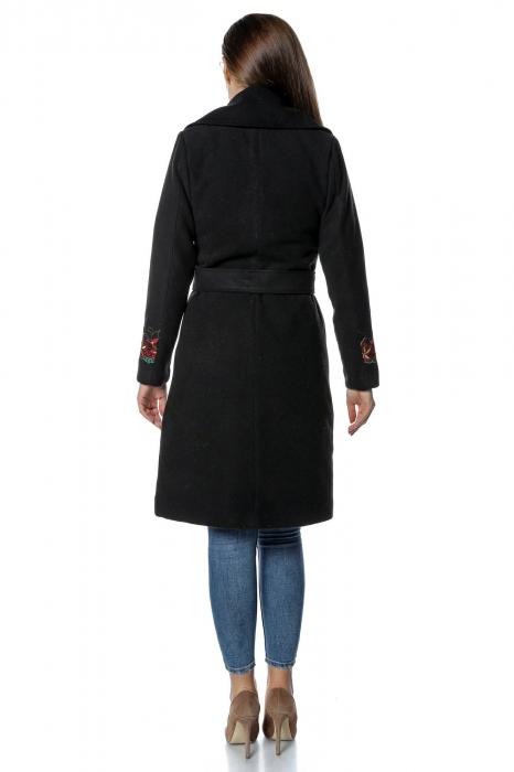 Palton negru dama din stofa cu broderie florala PF35 2