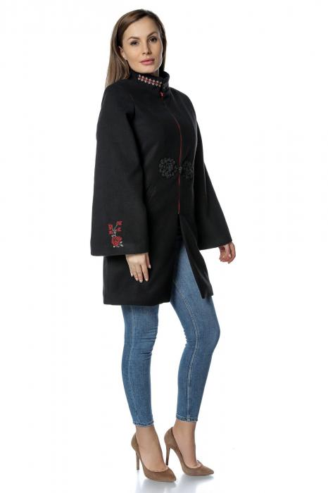 Palton negru dama din stofa cu broderie traditionala PF32 1