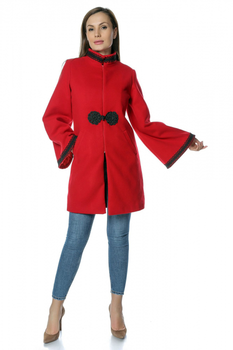 Palton rosu dama din stofa cu broderie traditionala PF33 0