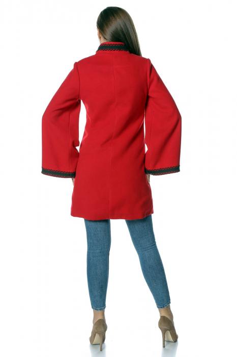 Palton rosu dama din stofa cu broderie traditionala PF33 2