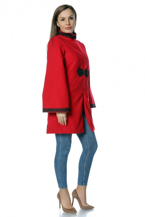 Palton rosu dama din stofa cu broderie traditionala PF33 1