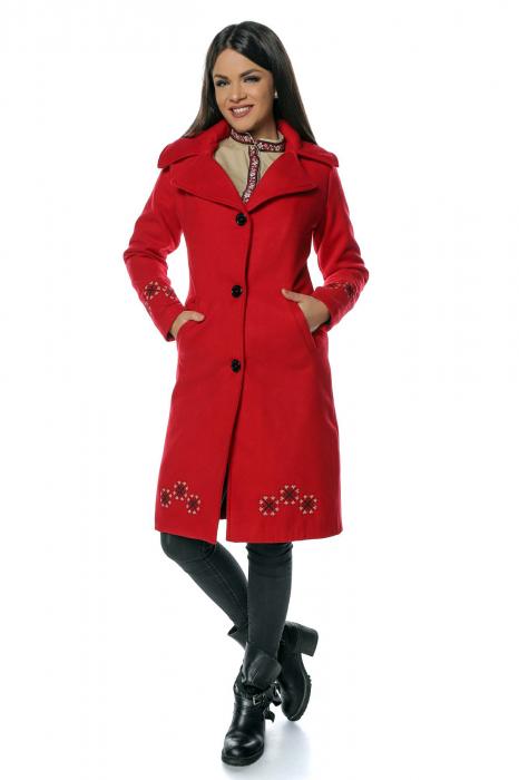 Palton rosu dama din stofa cu broderie traditionala PF41 1