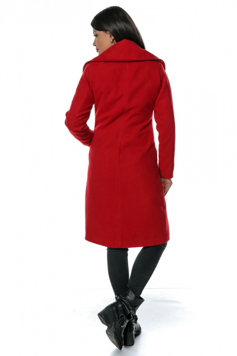 Palton rosu dama din stofa cu broderie traditionala PF41 2