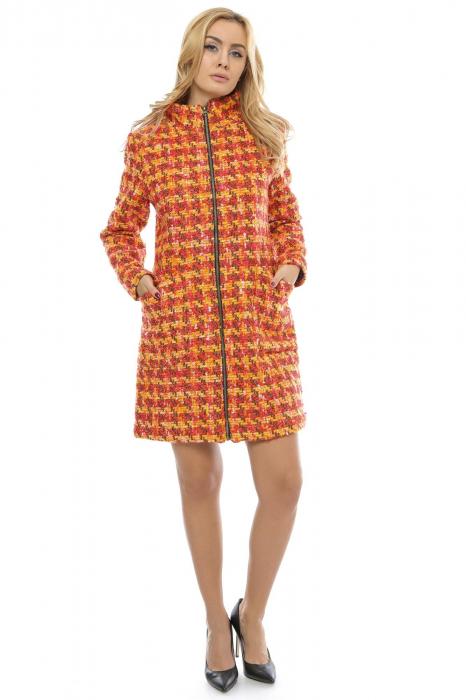 Palton dama multicolor din stofa cu fermoar metalic PF20 0
