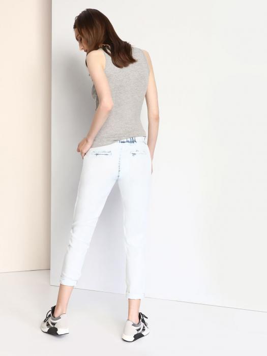 Pantaloni casual din denim prespalat cu buzunare 1
