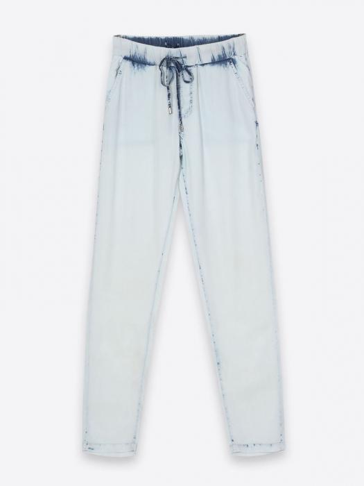 Pantaloni casual din denim prespalat cu buzunare 4