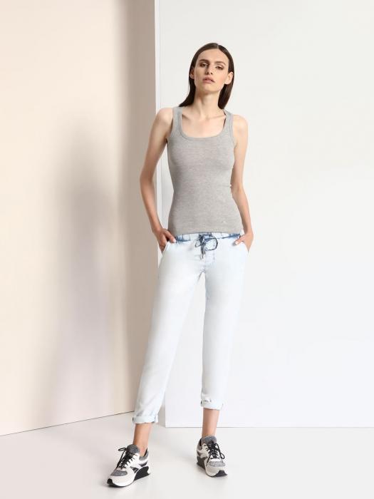 Pantaloni casual din denim prespalat cu buzunare 0