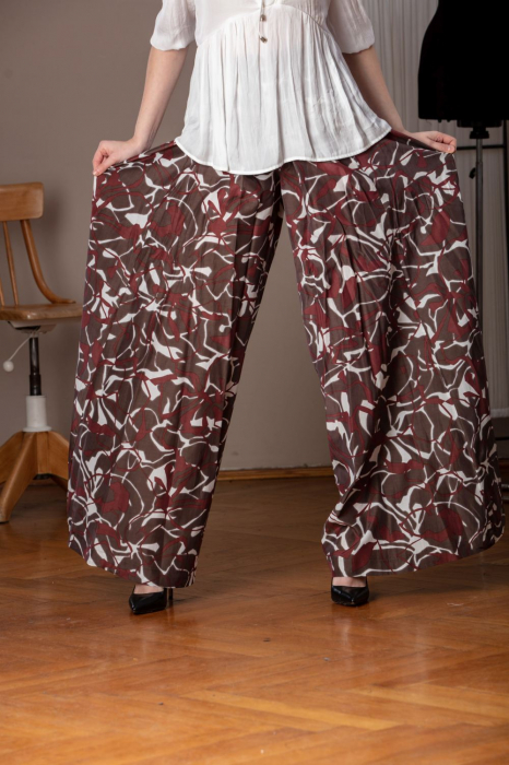 Pantaloni casual palazzo cu imprimeu geometric Miliam 2