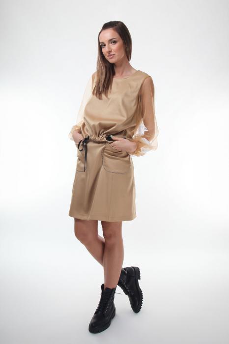 Bluza eleganta bej cu maneci lungi transparente din tulle fin [1]
