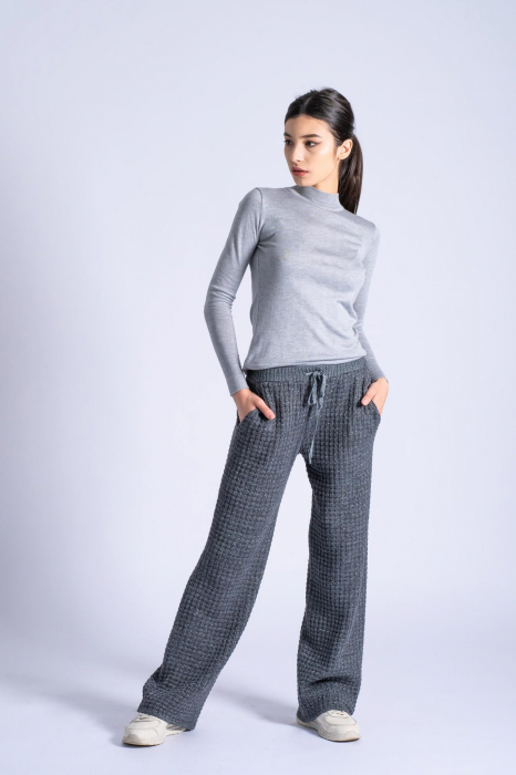Pantaloni lungi din tricot Wide Leg Grey 0