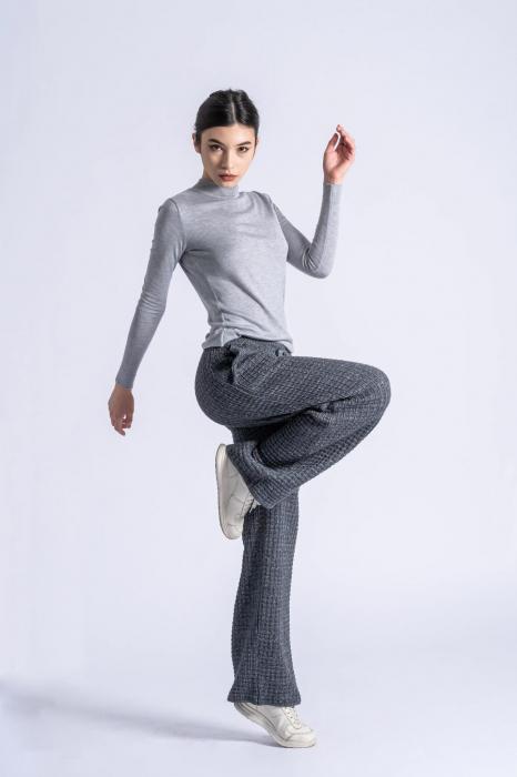 Pantaloni lungi din tricot Wide Leg Grey 1