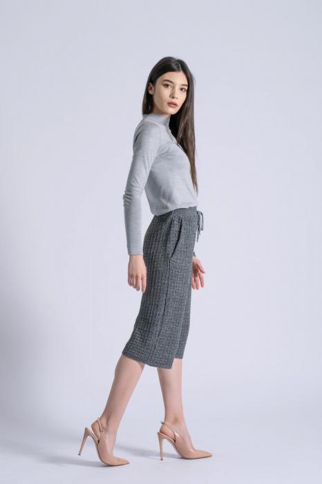 Pantaloni din tricot Wide Leg Grey [2]
