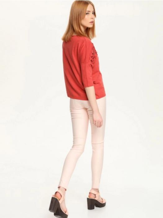 Pantaloni elastici skinny roz cu aspect sidefat, 42 [1]