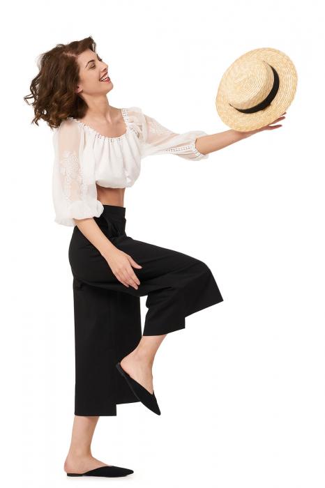 Pantaloni dama culottes din bumbac 2