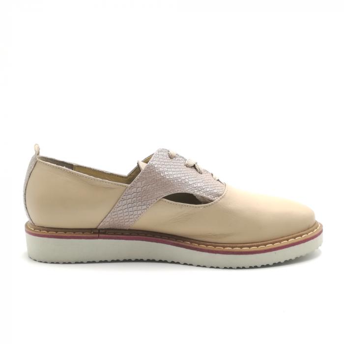 Pantofi dama cu talpa joasa nude din piele naturala 2