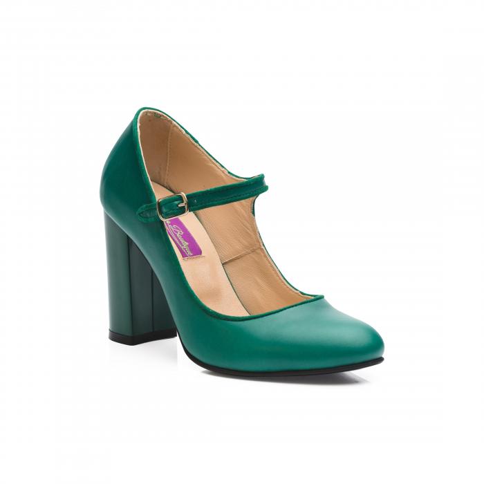 Pantofi cu toc gros verzi din piele naturala CA41