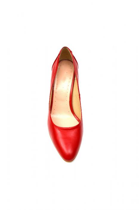 Pantofi cu toc gros din piele naturala Red Wish 2