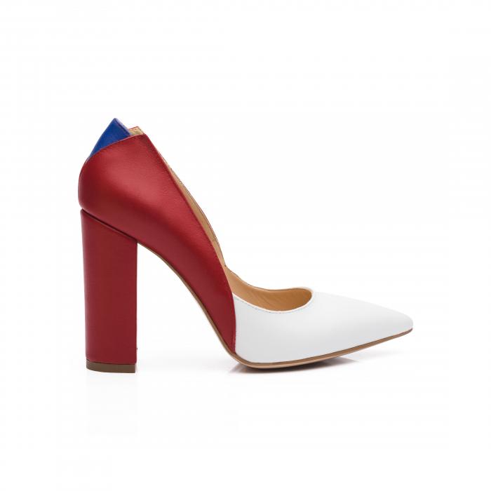 Pantofi din piele naturala in trei culori cu toc gros CA57 0