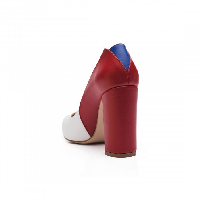 Pantofi din piele naturala in trei culori cu toc gros CA57 2