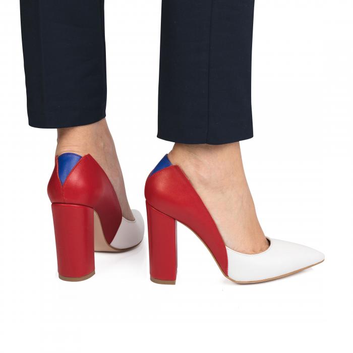 Pantofi din piele naturala in trei culori cu toc gros CA57 1
