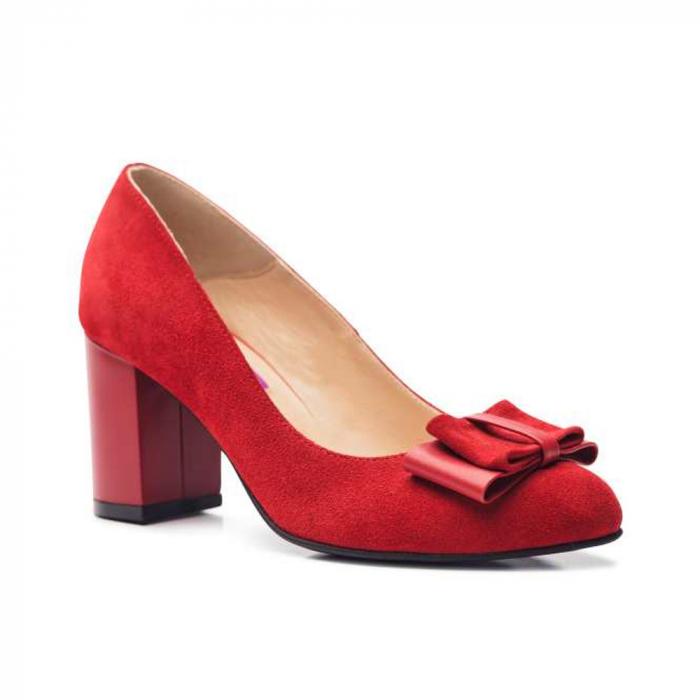 Pantofi cu toc gros rosii din piele si funda decorativa 2
