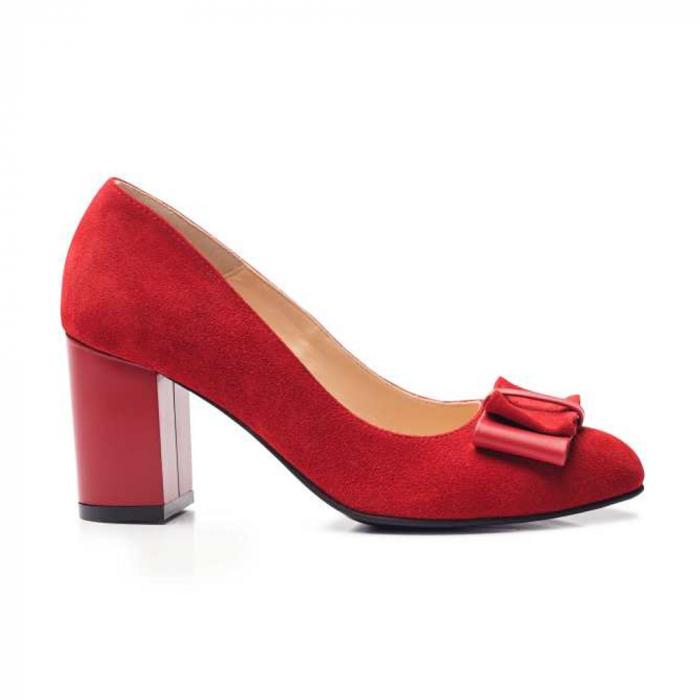 Pantofi cu toc gros rosii din piele si funda decorativa 1