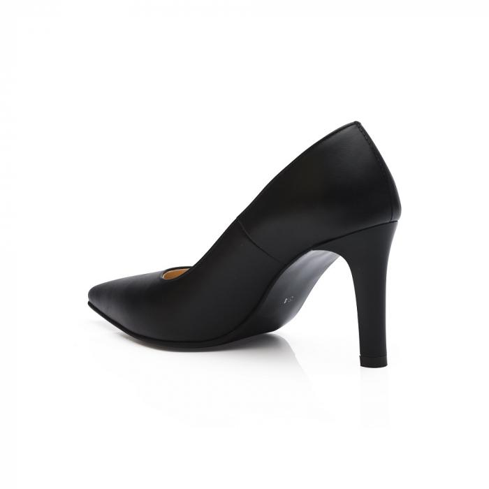 Pantofi stiletto negri cu toc mediu din piele naturala CA23 3