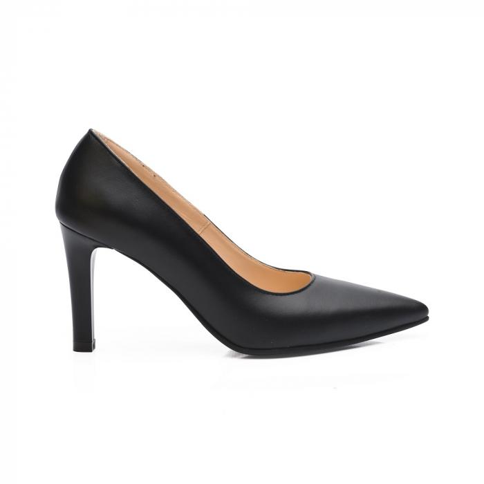 Pantofi stiletto negri cu toc mediu din piele naturala CA23, 40 1