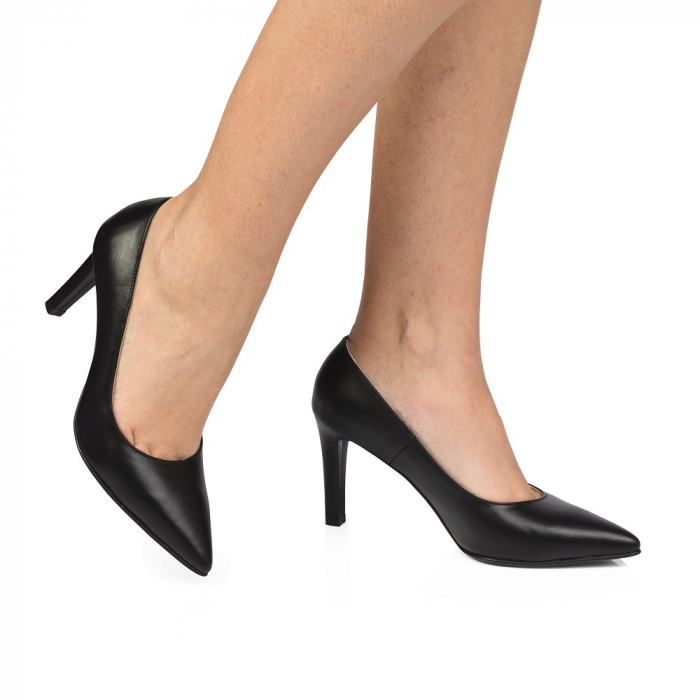 Pantofi stiletto negri cu toc mediu din piele naturala CA23, 40 0