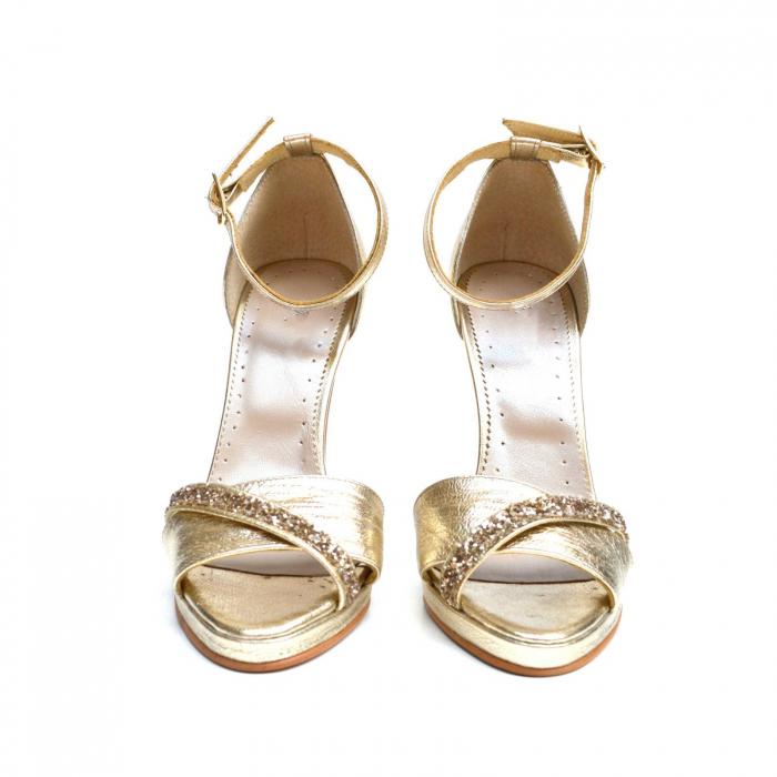 Sandale Gold stiletto cu bareta din glitter auriu