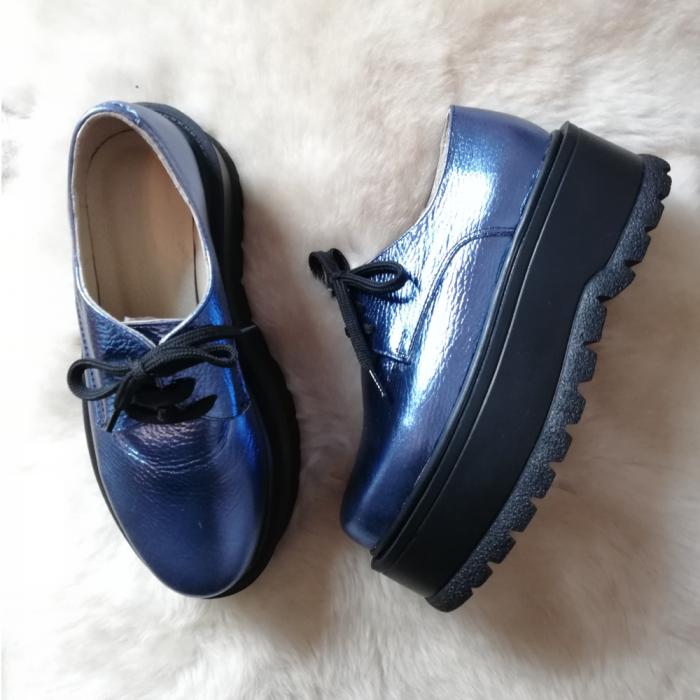 Pantofi dama cu platforma Metal Blue, 36 4