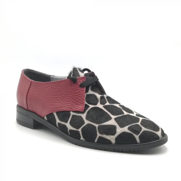 Pantofi dama din piele naturala grena cu ponei animal print 1