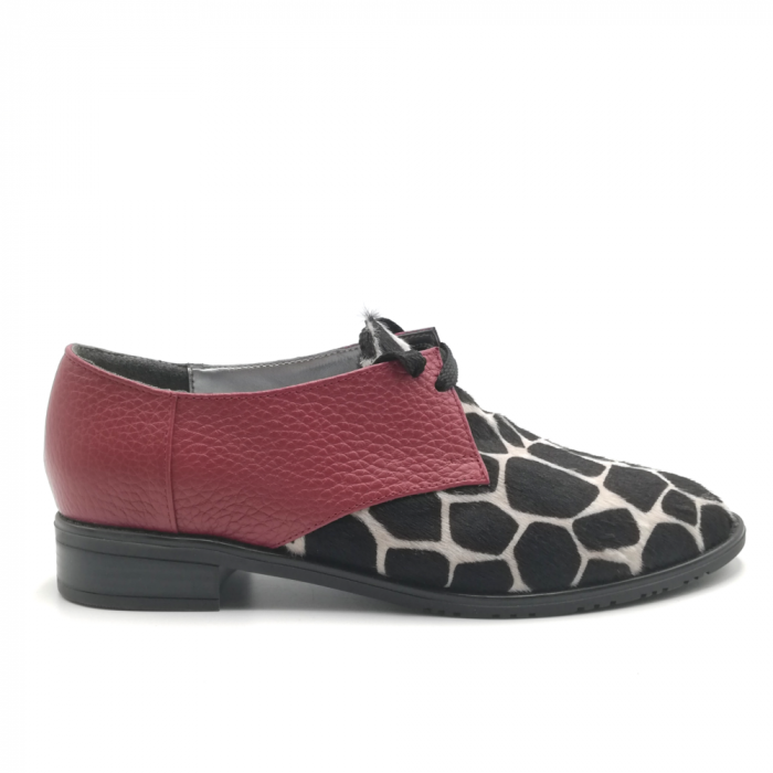 Pantofi dama din piele naturala grena cu ponei animal print 0