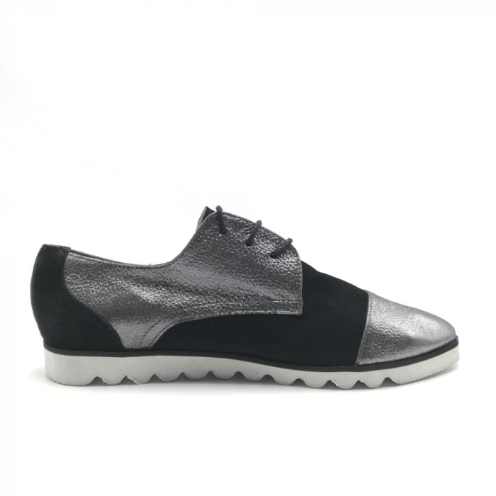 Pantofi dama cu talpa joasa negru cu argintiu din piele naturala 2