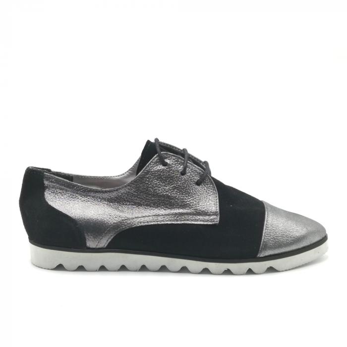 Pantofi dama cu talpa joasa negru cu argintiu din piele naturala 0
